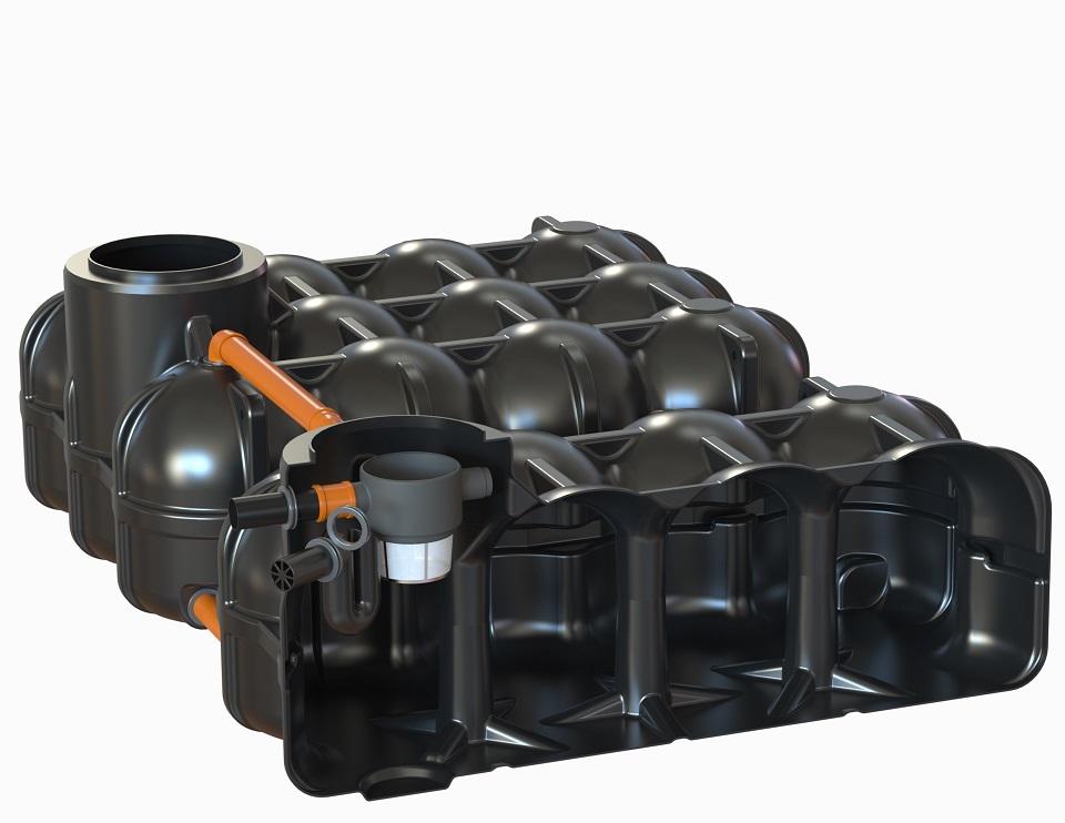 mit PS + 1 Behälter mit vorinstallierten Korbfilter + Überlaufsiphon mit Kleintierschutz, 1 Behälter ohne Bohrung