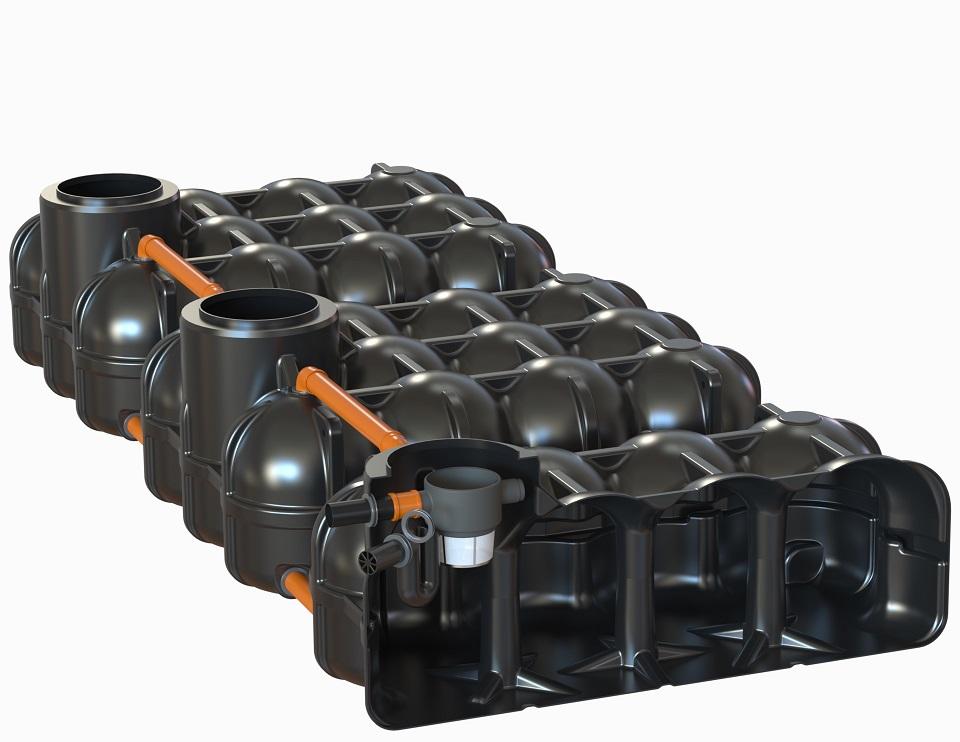 ohne PS + 1 Behälter mit vorinstallierten Korbfilter + Überlaufsiphon mit Kleintierschutz, 2 Behälter ohne Bohrung
