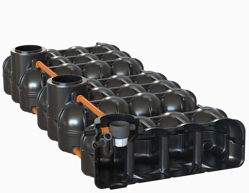 mit PS + 1 Behälter mit vorinstallierten Korbfilter + Überlaufsiphon mit Kleintierschutz, 2 Behälter ohne Bohrung