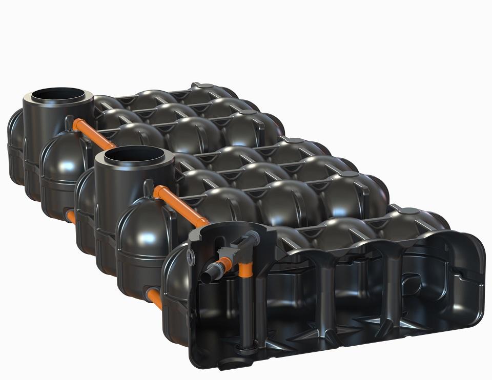 mit PS + 1 Behälter mit vorinstallierten Wechselsprungfilter + Zulaufberuhiger + Überlaufsiphon mit Kleintierschutz, 2 Behälter ohne Bohrung